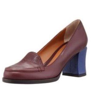 Fendi Heeled Oxford Textured Burgundy Blue Leather